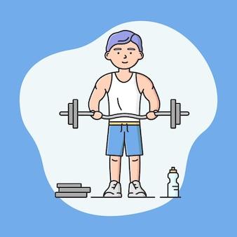 プロのアクティブスポーツと健康的なライフスタイルのコンセプト。若い陽気な少年はダンベルを持ち上げています。ボディービルダーは運動しています。スポーツ大会。漫画の線形アウトラインフラットスタイル。ベクトルイラスト。