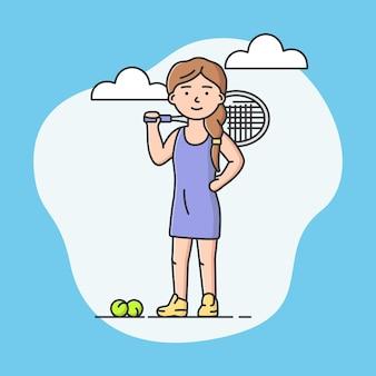 전문적인 활동적인 스포츠와 건강한 라이프 스타일 개념. 명랑 소녀 학교 또는 대학에서 테니스를 재생합니다. 테니스 선수. 스포츠 팀 게임. 만화 선형 개요 평면 벡터 일러스트 레이 션.