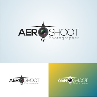 Professional aerial photography logo design template Vector
