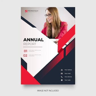 Professional annual report template with red shapes