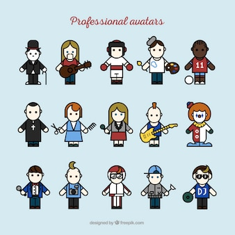 Professional avatars collection Free Vector
