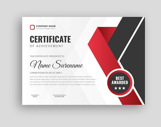 Professional award certificate template in abstract design