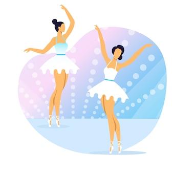Professional ballet show flat vector illustration