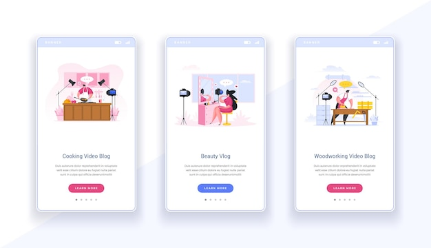 Professional banner screen online blogs. web slides video beauty tips and cooking from renowned authors. working with wood and advice from professional carpenter. modern vector digital templates