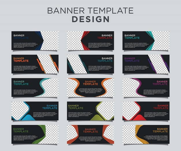 Professional banner template set dark background