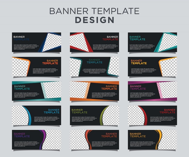 Professional banner template set dark background