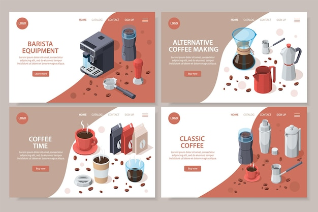 Professional barista coffee equipment landing pages set