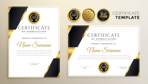 Professional black and golden diploma certificate template in premium style