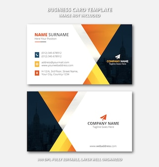 Professional black and yellow business card template with creative abstract shapes