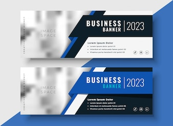 Professional blue business banners with image space