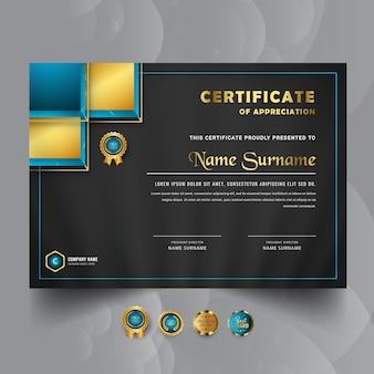Professional blue business certificate template premium