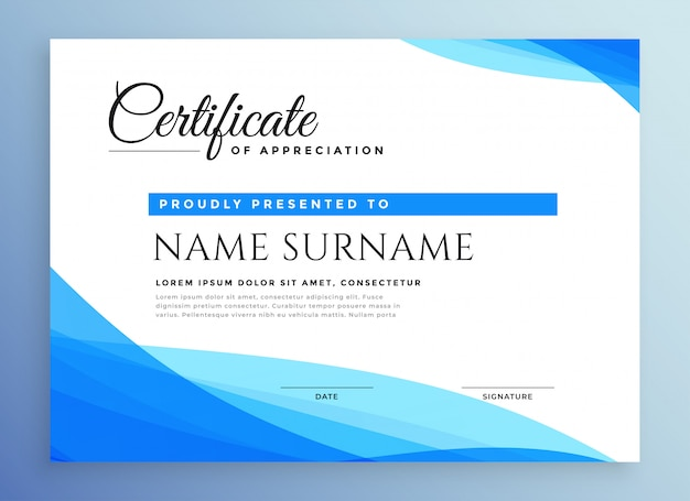 Professional blue business certificate