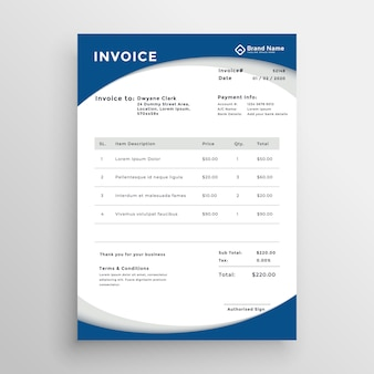 Professional blue business invoice template