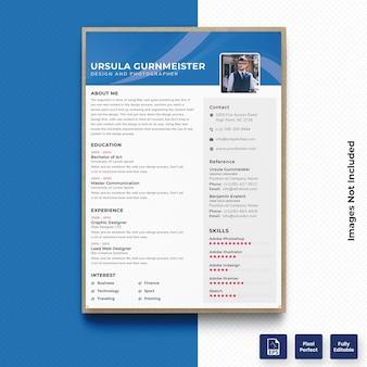 プロフェッショナルブルーカラーcv履歴書テンプレートベクトルプレミアム