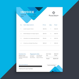 Professional blue creaive business invoice template