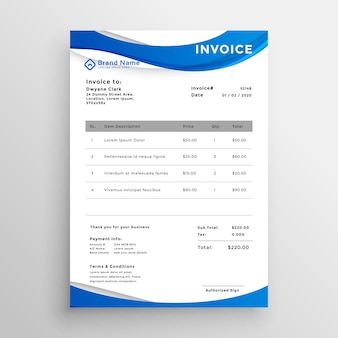 Professional blue wavy style invoice template