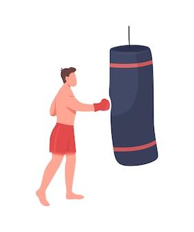 プロボクサーフラットカラーフェイスレスキャラクター。アスリートキックサンドバッグ。ボックストーナメント。 webグラフィックデザインとアニメーションのスポーツトレーニング分離漫画イラスト