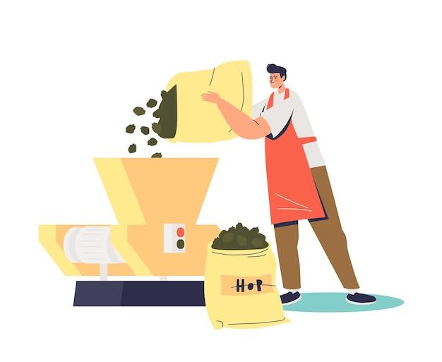Профессиональный пивовар добавляет хмель для производства пивоваренной иллюстрации