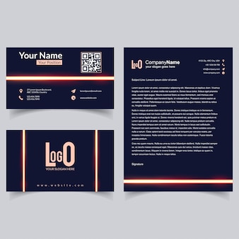 Professional brochure and visiting card set with dark background vector