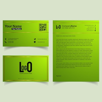 Professional brochure and visiting card set with green theme vector