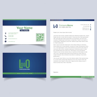 Professional brochure and visiting card set with light background vector