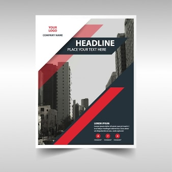 Professional brochure with red and black shapes