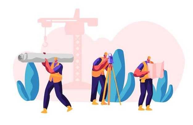 프로세스 건설의 전문 빌더. workman은 건축 작업을 위해 자재를 운반합니다. 레벨 측정 거리를 가진 남자. 엔지니어 룩 앤 체크 청사진. 플랫 만화 벡터 일러스트 레이션