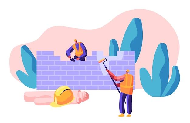 프로세스 건설 벽돌 벽에 유니폼 전문 작성기. 주걱으로 작업자 메이슨 벽돌 쌓기 집을 건설하십시오. 사람이 페인트 롤러를 손에 잡습니다. 플랫 만화 벡터 일러스트 레이션