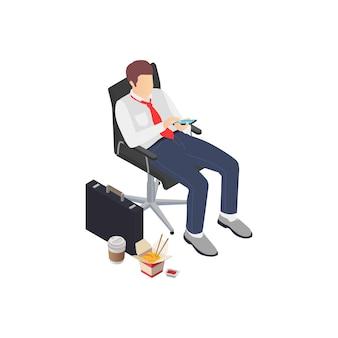 Изометрическая композиция профессионального выгорания, депрессии, разочарования, бизнес-работник, глядя на смартфон с нездоровой пищей