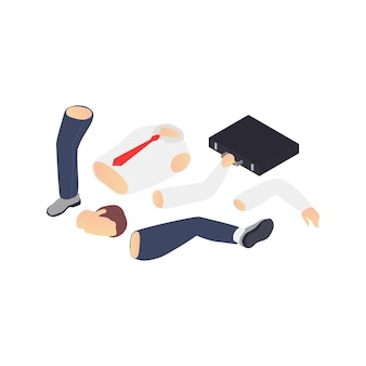 Professional burnout depression frustration isometric composition with images of business workers limbs
