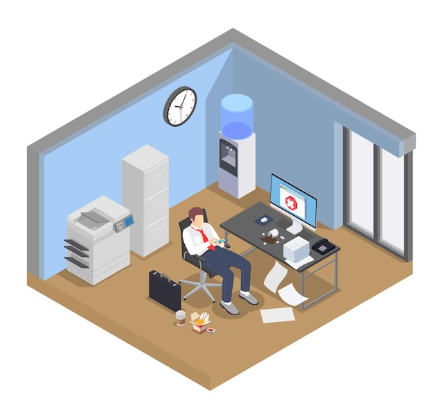 Professional burnout depression frustration isometric composition with view of office room interior and distracted worker character