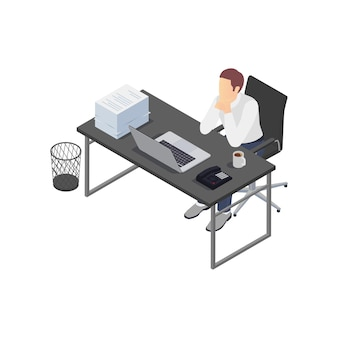Professional burnout depression frustration isometric composition with view of workplace with depressed worker