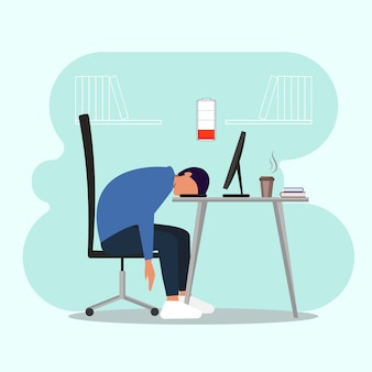 Professional burnout. employee sleeping at workplace.