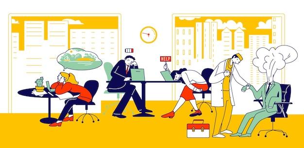 Синдром профессионального выгорания. измученные персонажи-менеджеры за работой, сидящие за столом с опущенной головой и разряженной батареей вверху. бизнес-концепция перегрузки и усталости. линейные люди векторные иллюстрации