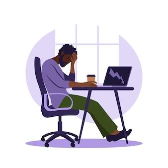 Синдром профессионального выгорания. иллюстрация усталый афро-американский офисный работник, сидя за столом. разочарованный рабочий, проблемы с психическим здоровьем. векторная иллюстрация в квартире.