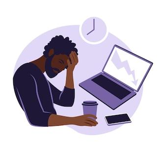 직업적 번아웃 증후군. 그림 피곤한 아프리카계 미국인 회사원은 테이블에 앉아 있습니다. 좌절된 노동자, 정신 건강 문제. 평면에서 벡터 일러스트 레이 션.