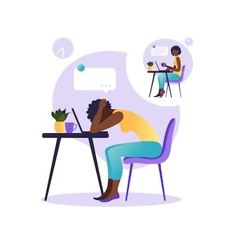 Синдром профессионального выгорания. иллюстрация с счастливым и усталым офисный работник, сидя за столом. разочарованный африканский работник, проблемы психического здоровья. иллюстрация в квартире.