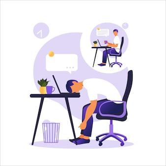 プロのバーンアウト症候群。テーブルに座って幸せと疲れているサラリーマンのイラスト。欲求不満の労働者、メンタルヘルスの問題。フラットのイラスト。