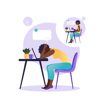 Professional burnout syndrome. illustration with happy and tired office worker sitting at the table. frustrated african worker, mental health problems. illustration in flat.