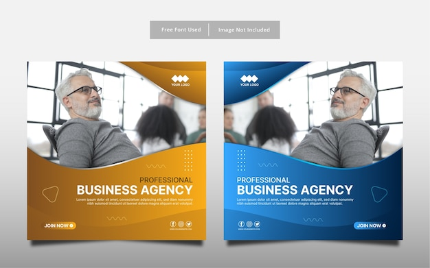 専門的なビジネス代理店ソーシャルメディアバナーテンプレートデザイン。