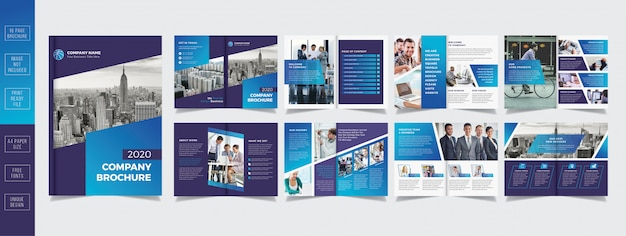Professional business brochure design 16 pages