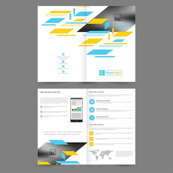 Professional business brochure, template with space to add images, creative abstract background with sky blue and yellow geometrical elements.