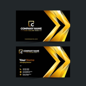 Professional business card design in gold color