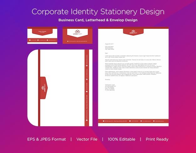 プロフェッショナルな名刺、レターヘッド、封筒のデザインテンプレート