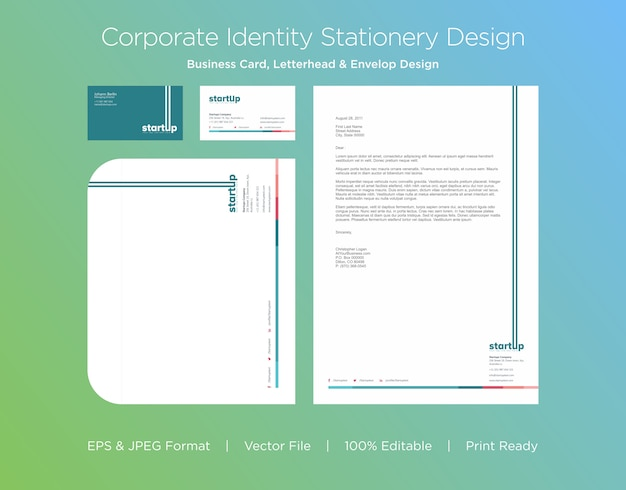 Professional business card, letterhead and envelop design template