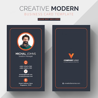 Professional business card template, vertical orange and black business card