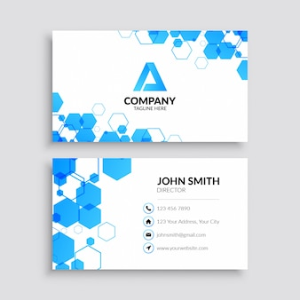 Professional business card template with blue hexagon pattern