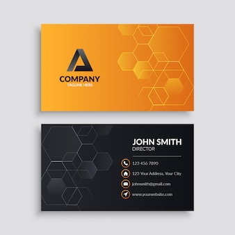 Professional business card template with hexagon pattern
