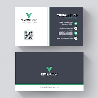 Professional business card template with modern, creative visit card with green details