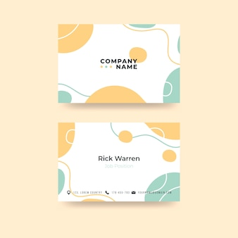 Professional business card template with pastel-colored stains